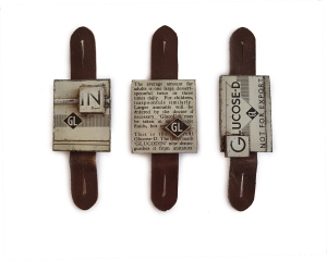 Buttonhole brooches: Repurposed steel tin, steel, iron, leather.
